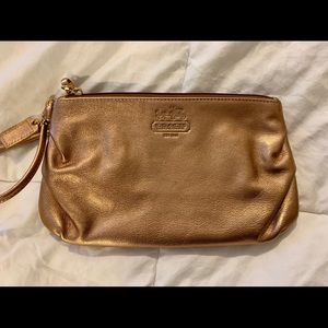 Small COACH pouch w wristlet-cool bronze metallic
